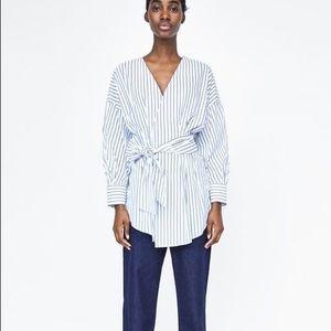 Zara Striped Wrap Tunic Blouse With Bow Tie